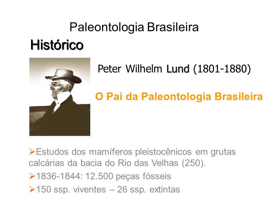 Estudos dos mamíferos pleistocênicos em grutas calcárias da bacia do Rio das Velhas (250). 1836-1844: 12.500 peças fósseis 150 ssp. viventes – 26 ssp.