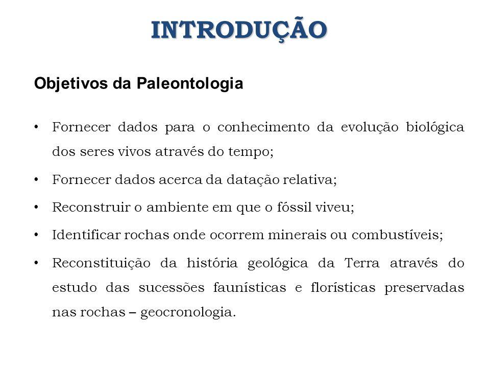 Objetivos da Paleontologia Fornecer dados para o conhecimento da evolução biológica dos seres vivos através do tempo; Fornecer dados acerca da datação