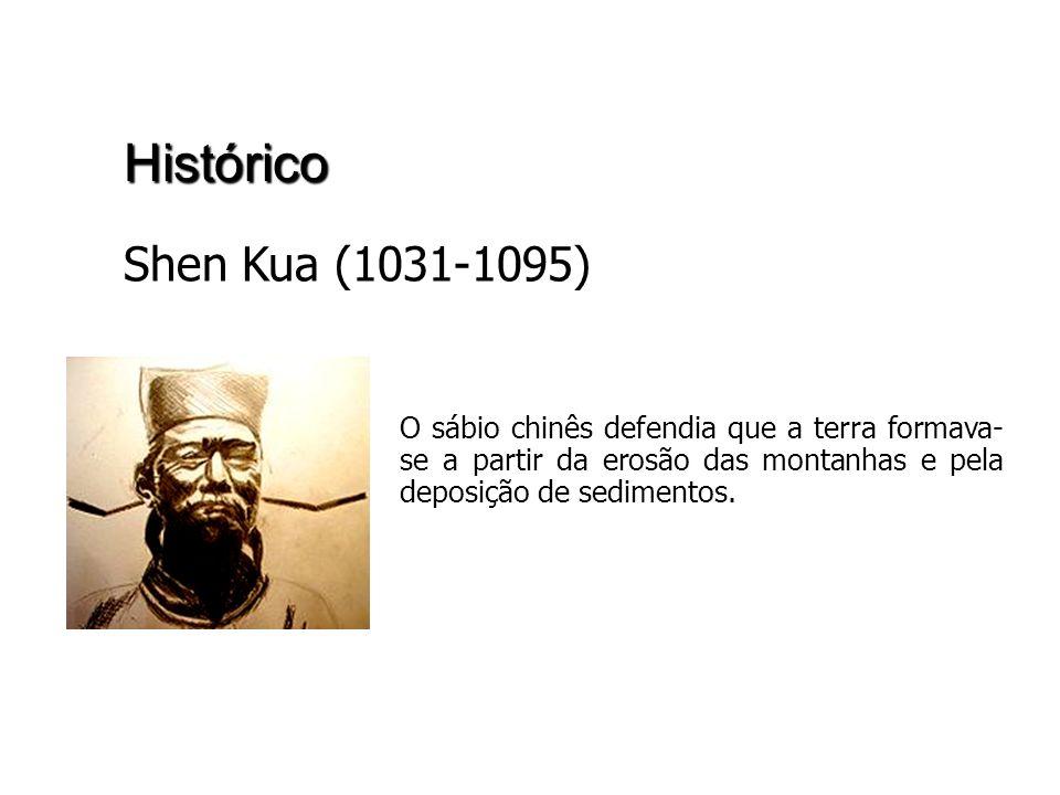 Histórico Shen Kua (1031-1095) O sábio chinês defendia que a terra formava- se a partir da erosão das montanhas e pela deposição de sedimentos.