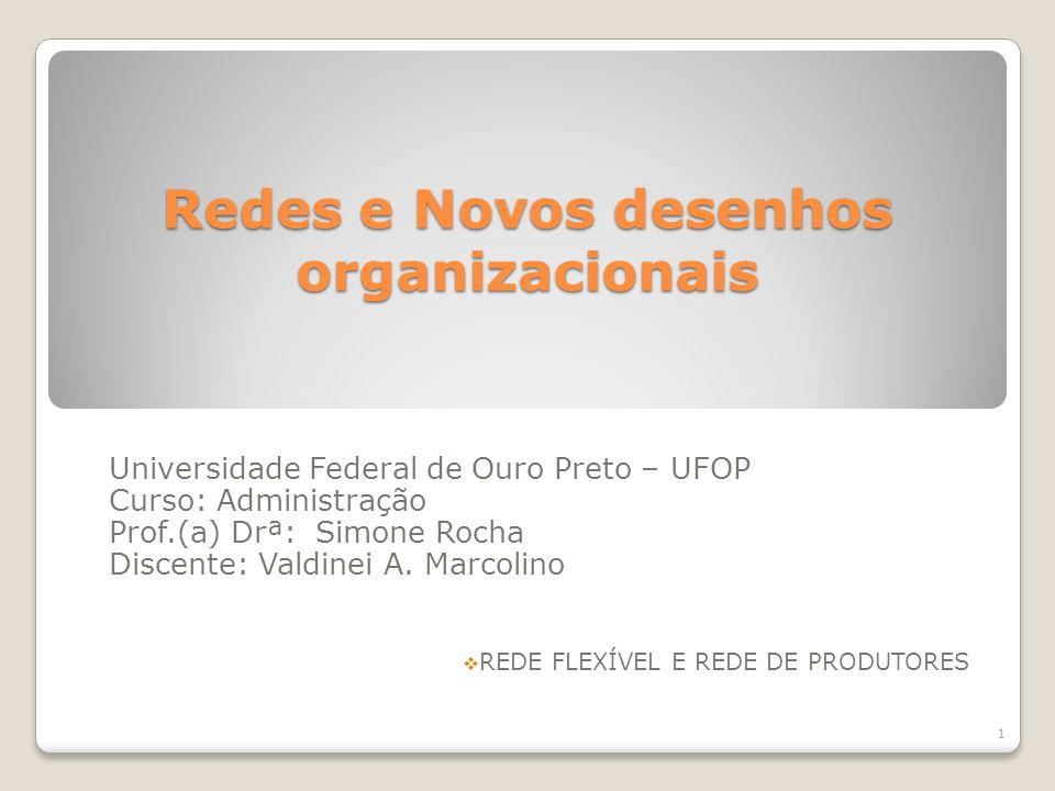 Redes e Novos desenhos organizacionais Universidade Federal de Ouro Preto – UFOP Curso: Administração Prof.(a) Drª: Simone Rocha Discente: Valdinei A.