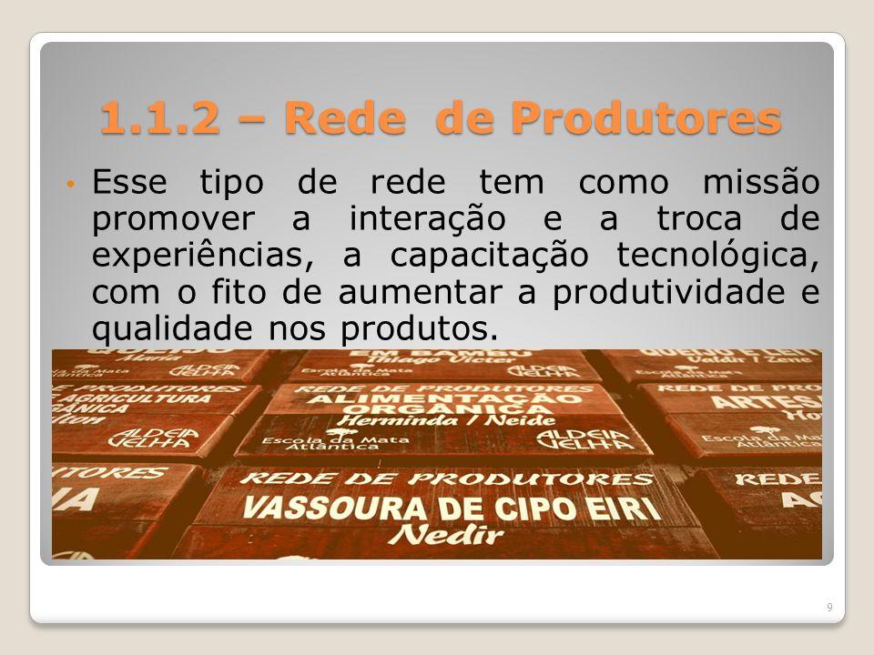 1.1.2 – Rede de Produtores Esse tipo de rede tem como missão promover a interação e a troca de experiências, a capacitação tecnológica, com o fito de