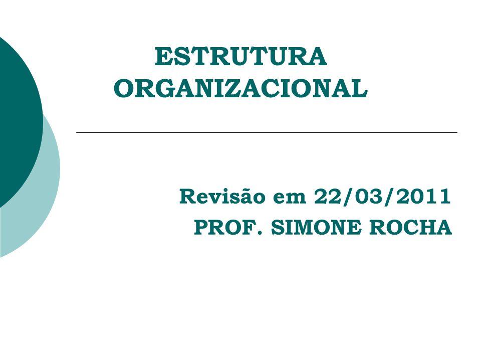 ESTRUTURA ORGANIZACIONAL Revisão em 22/03/2011 PROF. SIMONE ROCHA