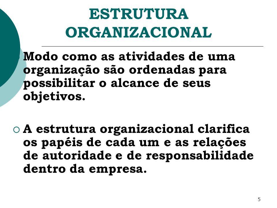 5 ESTRUTURA ORGANIZACIONAL Modo como as atividades de uma organização são ordenadas para possibilitar o alcance de seus objetivos. A estrutura organiz