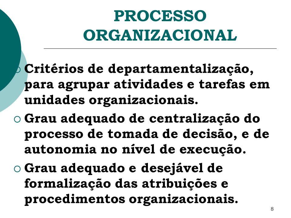 8 PROCESSO ORGANIZACIONAL Critérios de departamentalização, para agrupar atividades e tarefas em unidades organizacionais. Grau adequado de centraliza