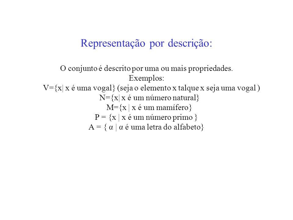 Representação por descrição: O conjunto é descrito por uma ou mais propriedades. Exemplos: V={x| x é uma vogal} (seja o elemento x talque x seja uma v