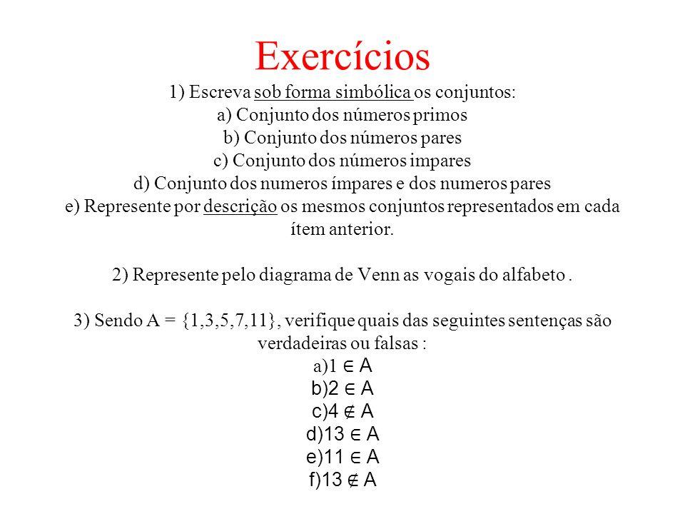 Exercícios 1) Escreva sob forma simbólica os conjuntos: a) Conjunto dos números primos b) Conjunto dos números pares c) Conjunto dos números impares d