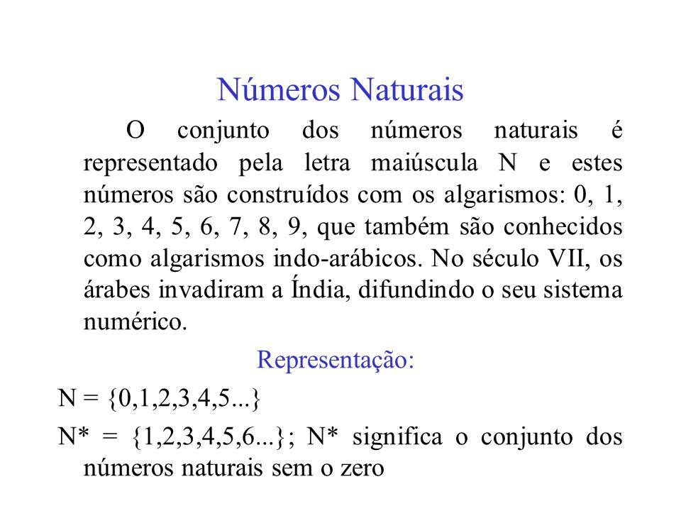 Números Naturais O conjunto dos números naturais é representado pela letra maiúscula N e estes números são construídos com os algarismos: 0, 1, 2, 3,