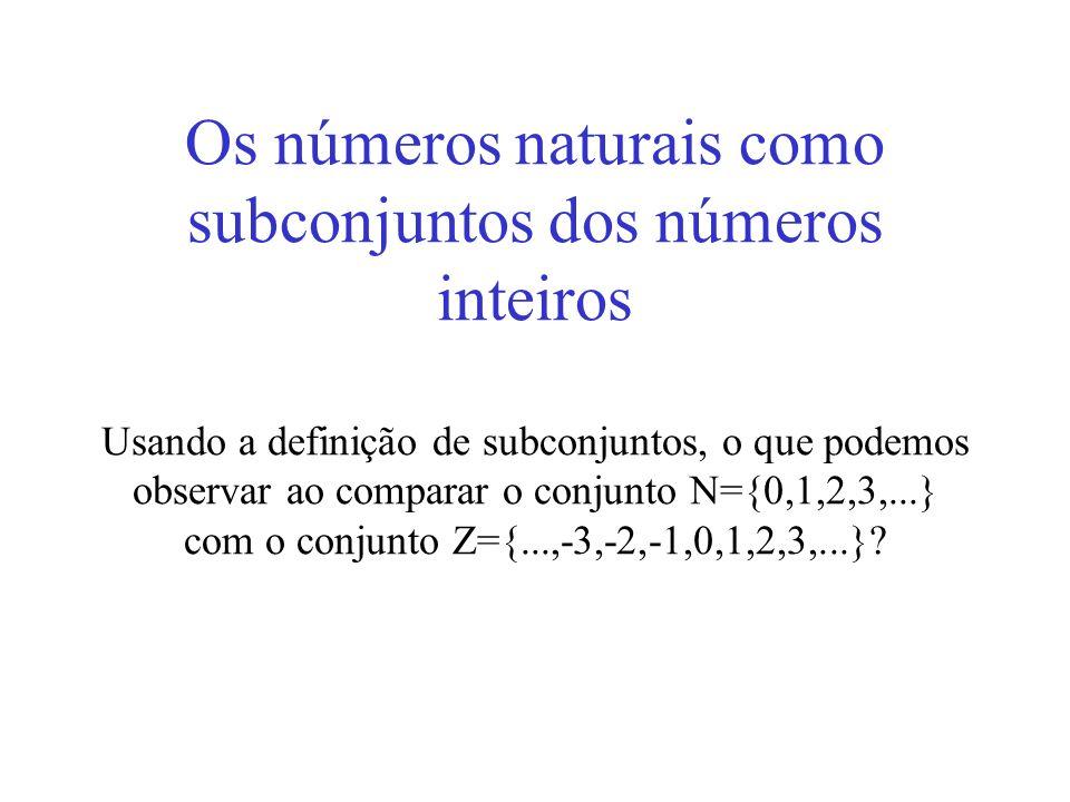 Os números naturais como subconjuntos dos números inteiros Usando a definição de subconjuntos, o que podemos observar ao comparar o conjunto N={0,1,2,