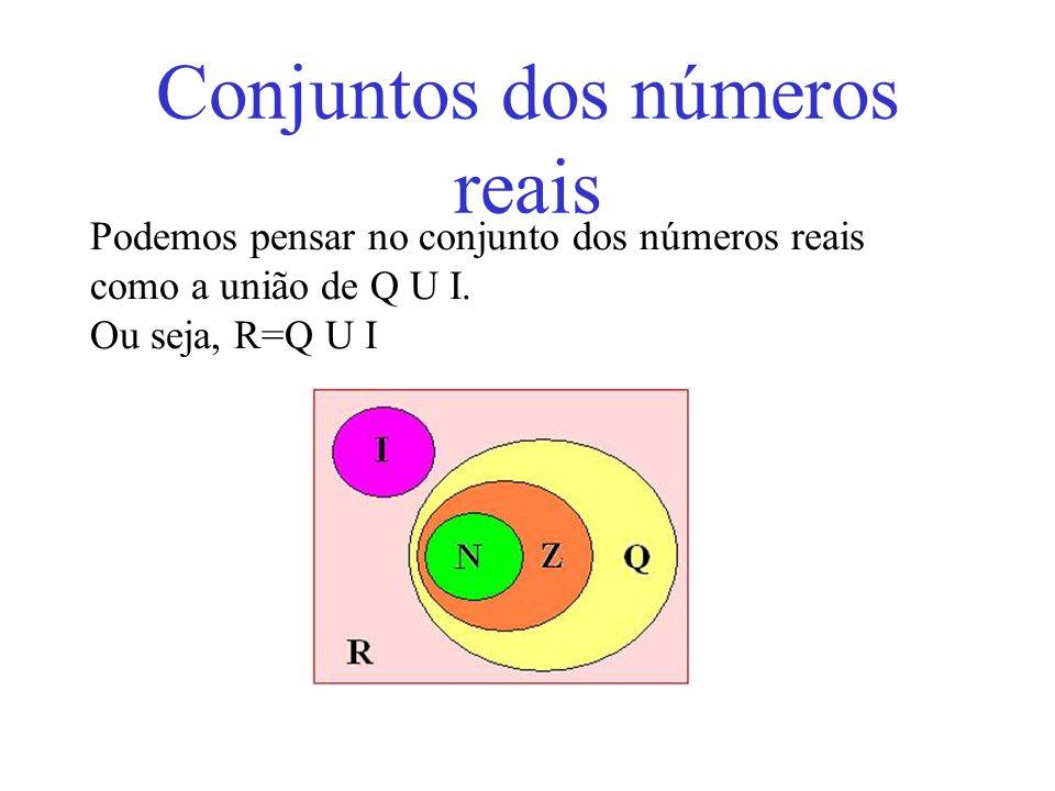 Conjuntos dos números reais Podemos pensar no conjunto dos números reais como a união de Q U I. Ou seja, R=Q U I