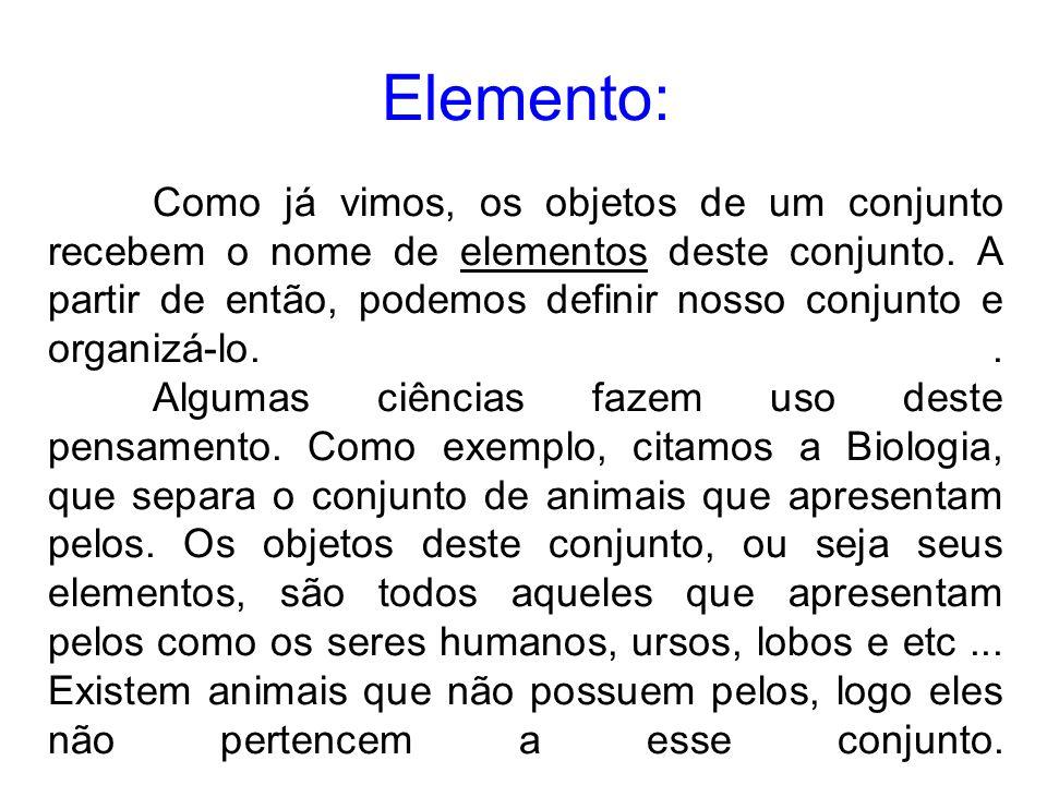 Elemento: Como já vimos, os objetos de um conjunto recebem o nome de elementos deste conjunto. A partir de então, podemos definir nosso conjunto e org