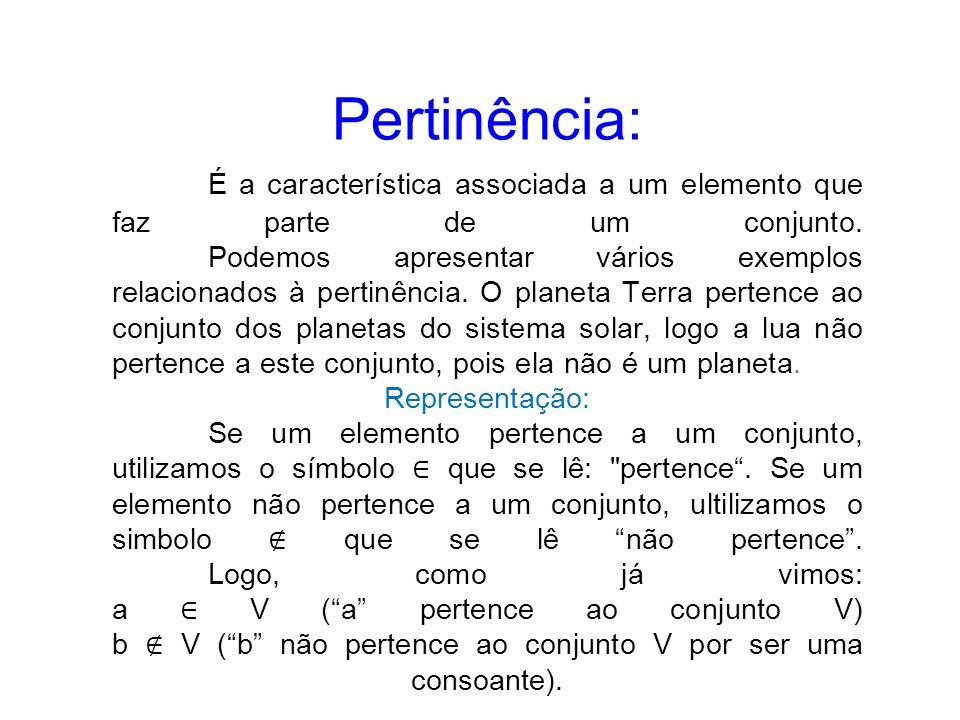 Pertinência: É a característica associada a um elemento que faz parte de um conjunto. Podemos apresentar vários exemplos relacionados à pertinência. O