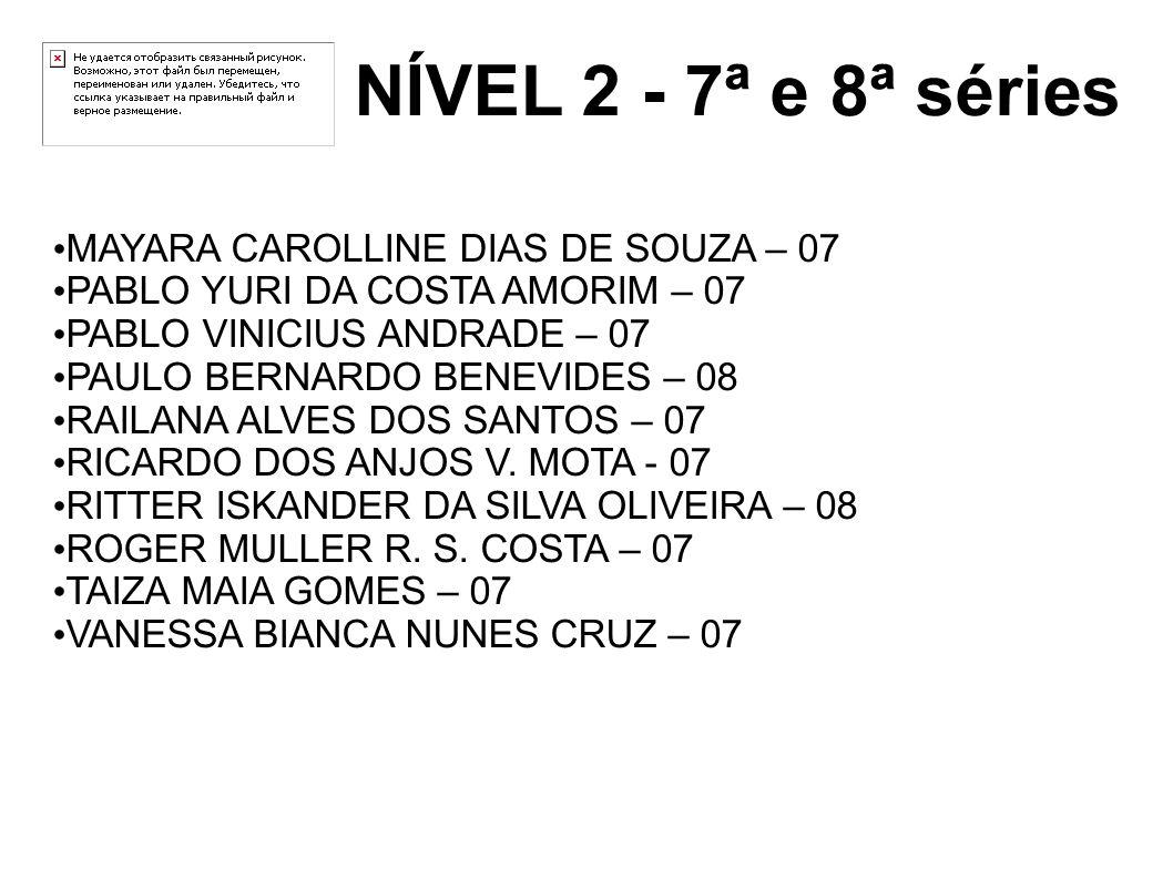 NÍVEL 2 - 7ª e 8ª séries MAYARA CAROLLINE DIAS DE SOUZA – 07 PABLO YURI DA COSTA AMORIM – 07 PABLO VINICIUS ANDRADE – 07 PAULO BERNARDO BENEVIDES – 08