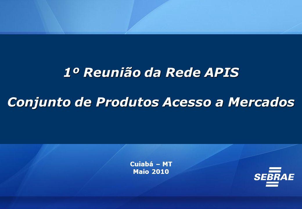 1º Reunião da Rede APIS Conjunto de Produtos Acesso a Mercados Cuiabá – MT Maio 2010