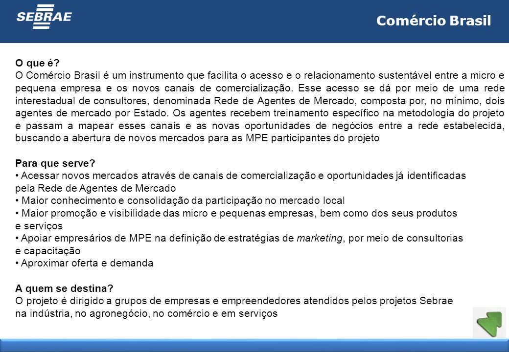 Comércio Brasil O que é? O Comércio Brasil é um instrumento que facilita o acesso e o relacionamento sustentável entre a micro e pequena empresa e os