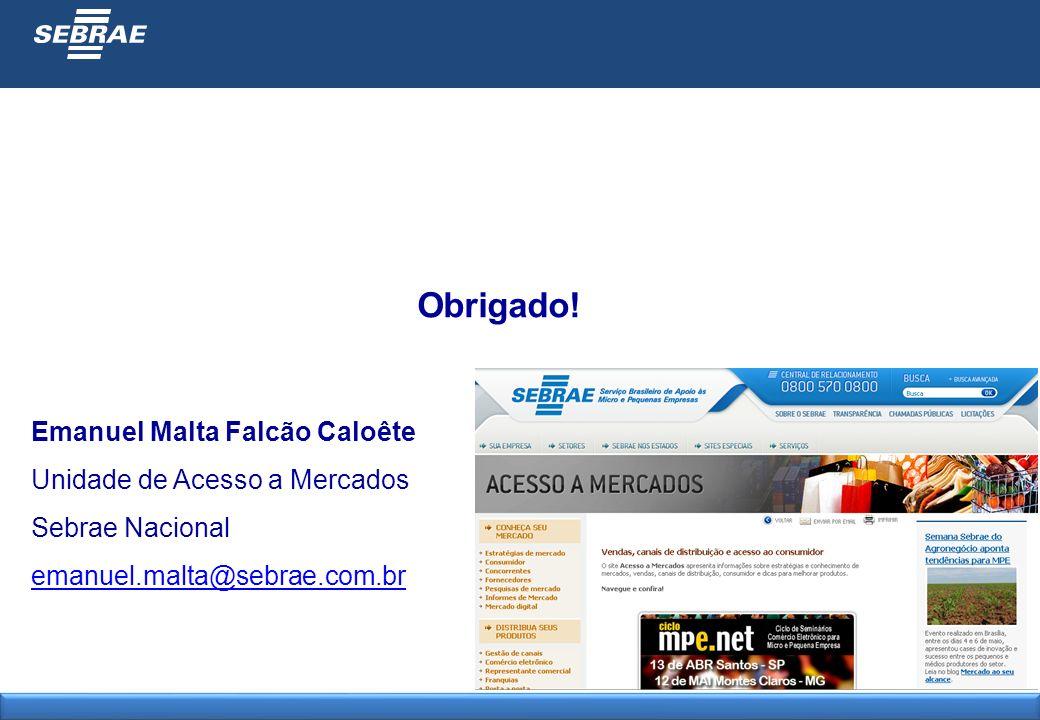 Emanuel Malta Falcão Caloête Unidade de Acesso a Mercados Sebrae Nacional emanuel.malta@sebrae.com.br Obrigado!