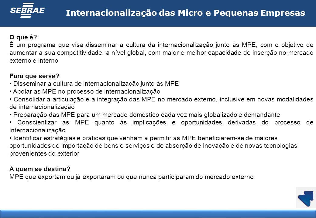 Internacionalização das Micro e Pequenas Empresas O que é? É um programa que visa disseminar a cultura da internacionalização junto às MPE, com o obje