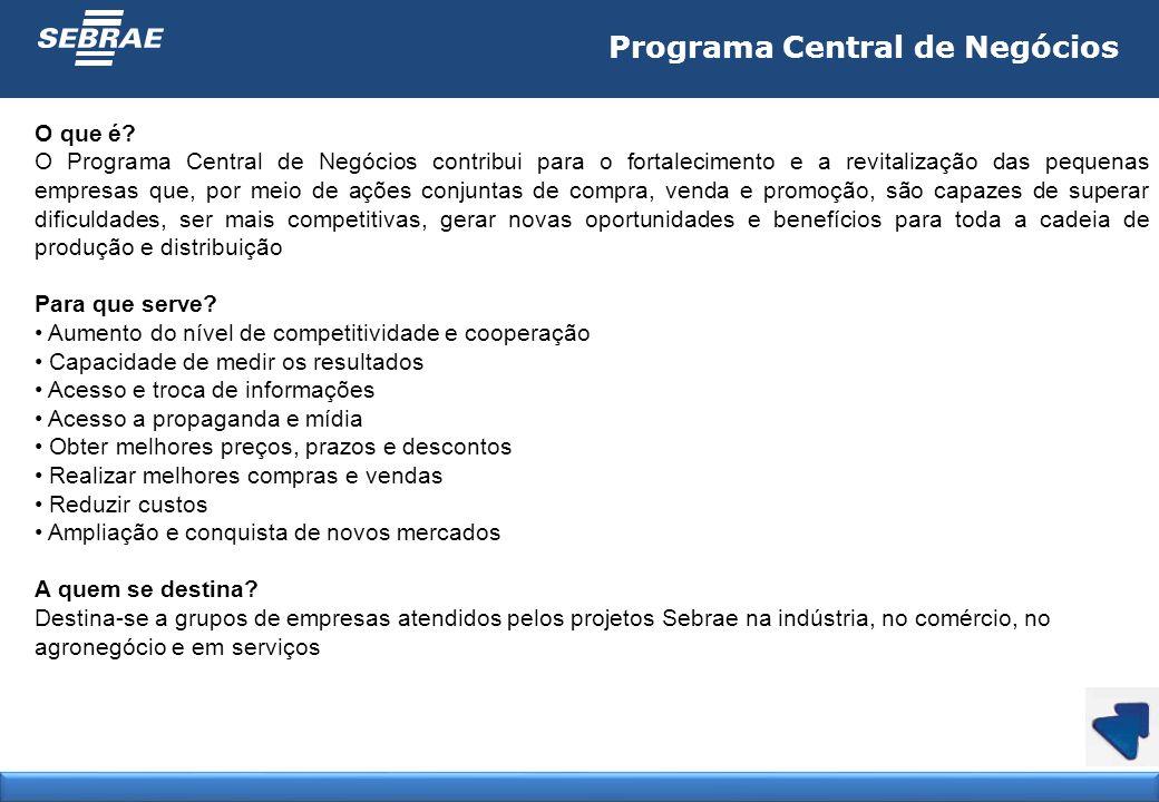 Programa Central de Negócios O que é? O Programa Central de Negócios contribui para o fortalecimento e a revitalização das pequenas empresas que, por