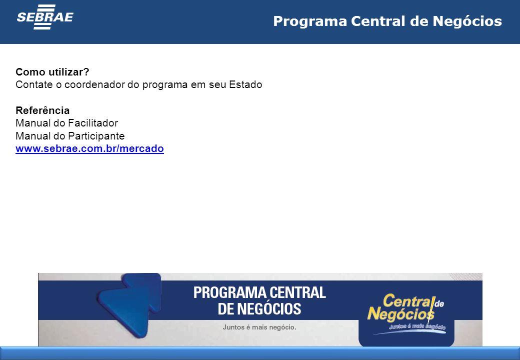Programa Central de Negócios Como utilizar? Contate o coordenador do programa em seu Estado Referência Manual do Facilitador Manual do Participante ww