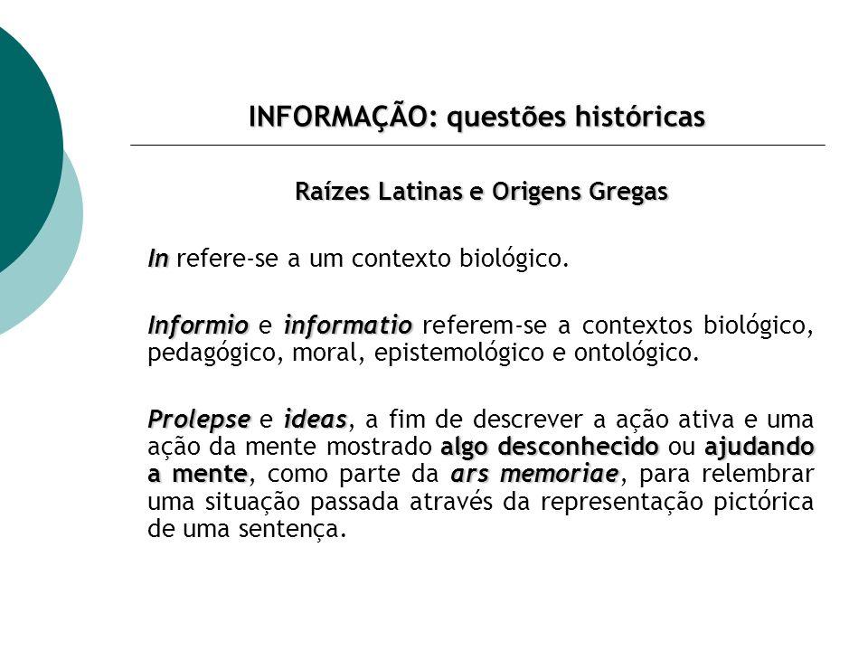 INFORMAÇÃO: questões históricas Usos Modernos e Pós-modernos informação Informio e informatio transformam-se em informação, mantendo seu significado epistemológico.