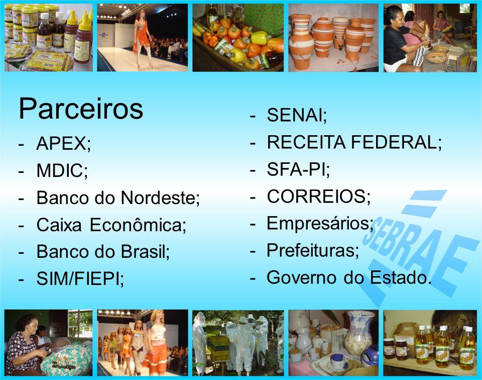 -APEX; -MDIC; -Banco do Nordeste; -Caixa Econômica; -Banco do Brasil; -SIM/FIEPI; Parceiros - SENAI; - RECEITA FEDERAL; - SFA-PI; - CORREIOS; - Empres