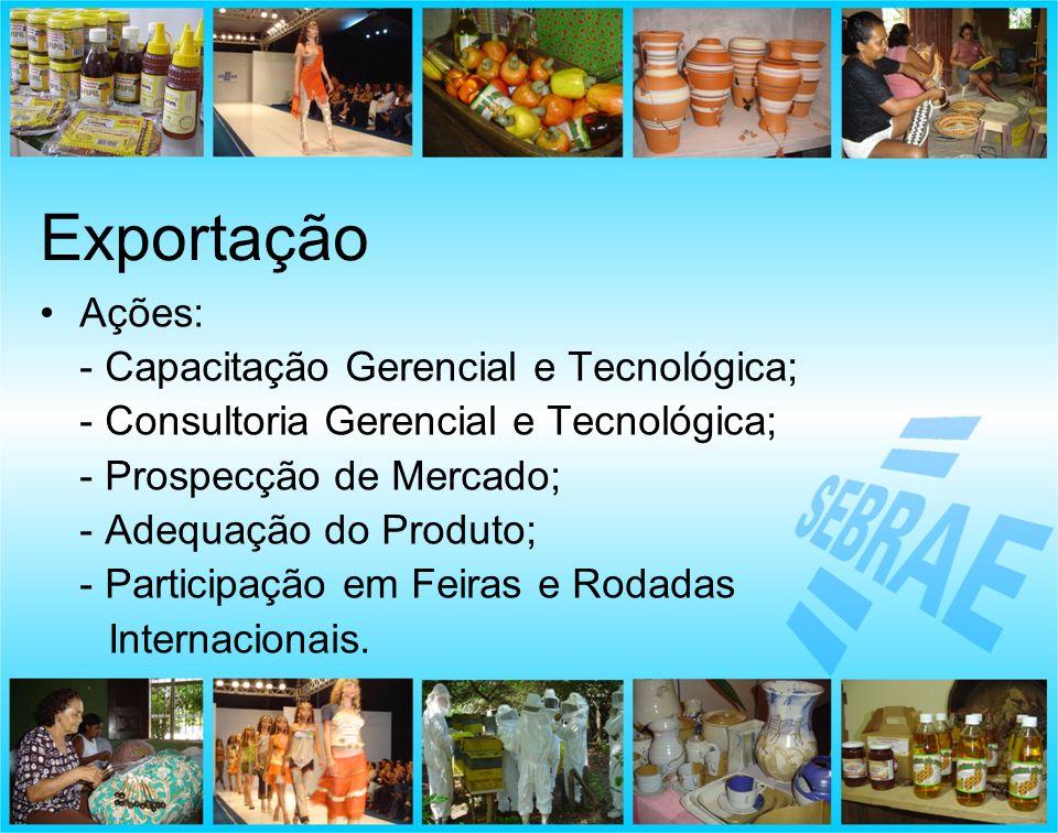 Ações: - Capacitação Gerencial e Tecnológica; - Consultoria Gerencial e Tecnológica; - Prospecção de Mercado; - Adequação do Produto; - Participação e