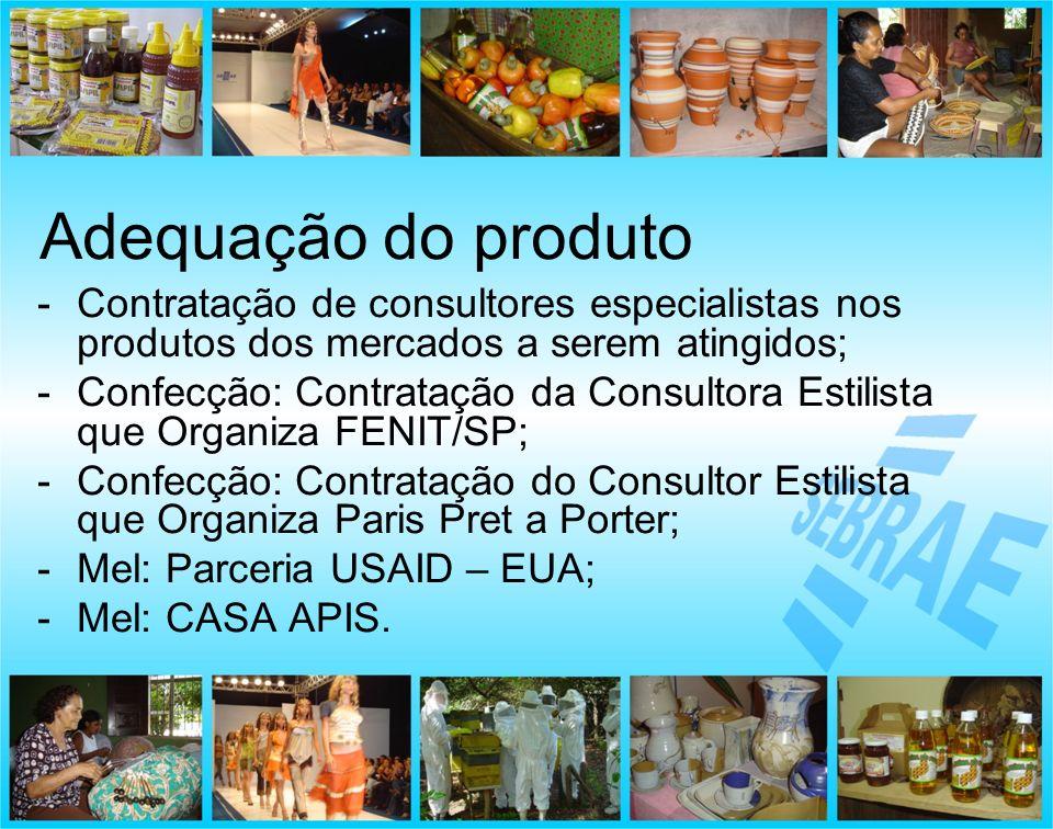 -Contratação de consultores especialistas nos produtos dos mercados a serem atingidos; -Confecção: Contratação da Consultora Estilista que Organiza FE