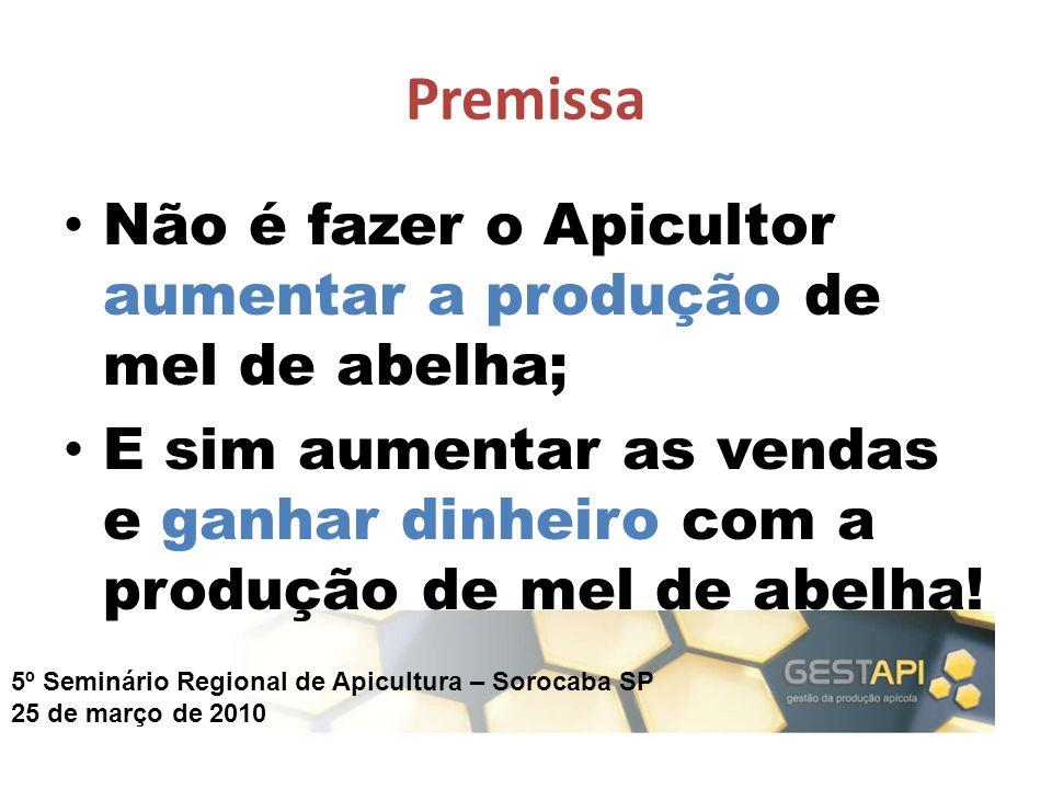 5º Seminário Regional de Apicultura – Sorocaba SP 25 de março de 2010 Premissa Não é fazer o Apicultor aumentar a produção de mel de abelha; E sim aum