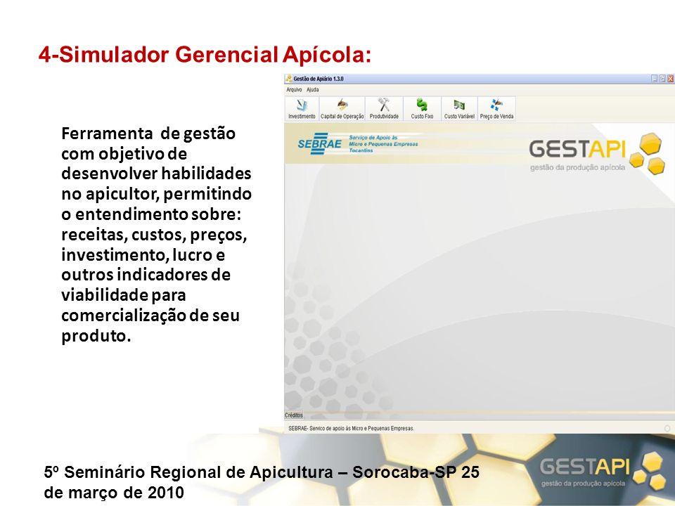 5º Seminário Regional de Apicultura – Sorocaba-SP 25 de março de 2010 Ferramenta de gestão com objetivo de desenvolver habilidades no apicultor, permi