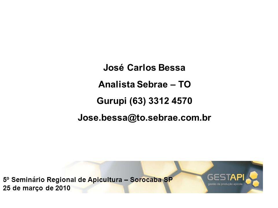 5º Seminário Regional de Apicultura – Sorocaba SP 25 de março de 2010 José Carlos Bessa Analista Sebrae – TO Gurupi (63) 3312 4570 Jose.bessa@to.sebra