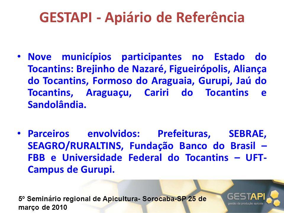 5º Seminário regional de Apicultura- Sorocaba-SP 25 de março de 2010 GESTAPI - Apiário de Referência Nove municípios participantes no Estado do Tocant