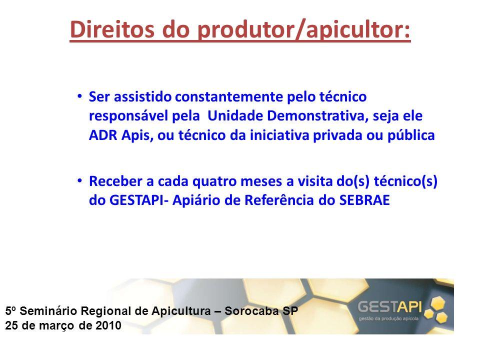 5º Seminário Regional de Apicultura – Sorocaba SP 25 de março de 2010 Direitos do produtor/apicultor: Ser assistido constantemente pelo técnico respon