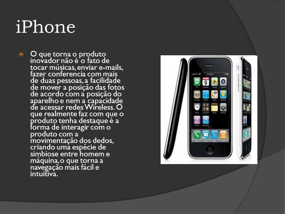 iPhone O que torna o produto inovador não é o fato de tocar músicas, enviar e-mails, fazer conferencia com mais de duas pessoas, a facilidade de mover