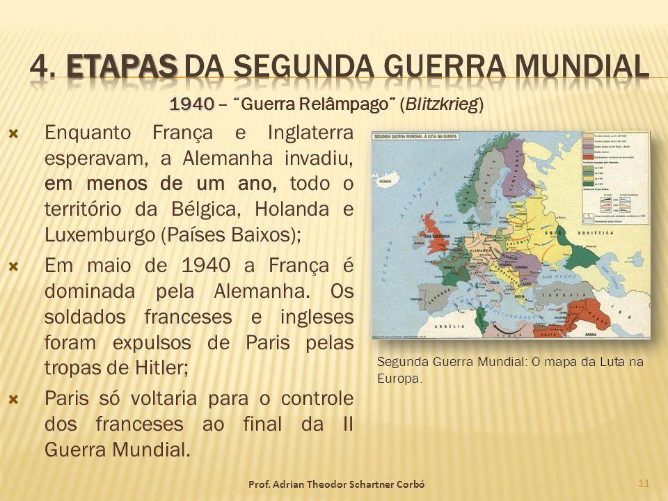 Enquanto França e Inglaterra esperavam, a Alemanha invadiu, em menos de um ano, todo o território da Bélgica, Holanda e Luxemburgo (Países Baixos); Em