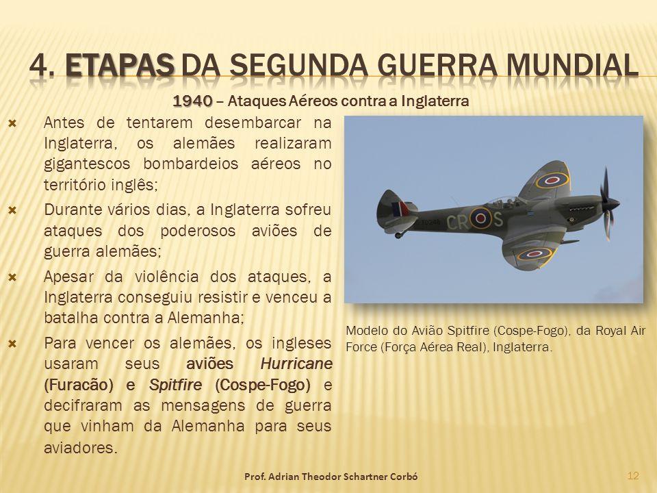 1940 1940 – Ataques Aéreos contra a Inglaterra Antes de tentarem desembarcar na Inglaterra, os alemães realizaram gigantescos bombardeios aéreos no te