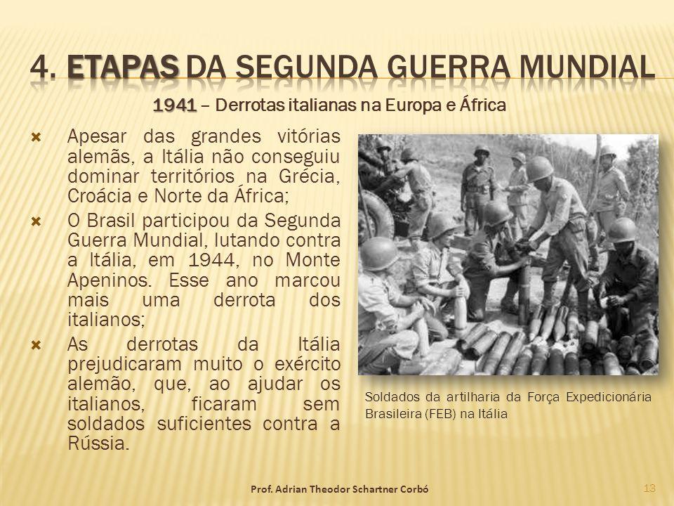 1941 1941 – Derrotas italianas na Europa e África Apesar das grandes vitórias alemãs, a Itália não conseguiu dominar territórios na Grécia, Croácia e
