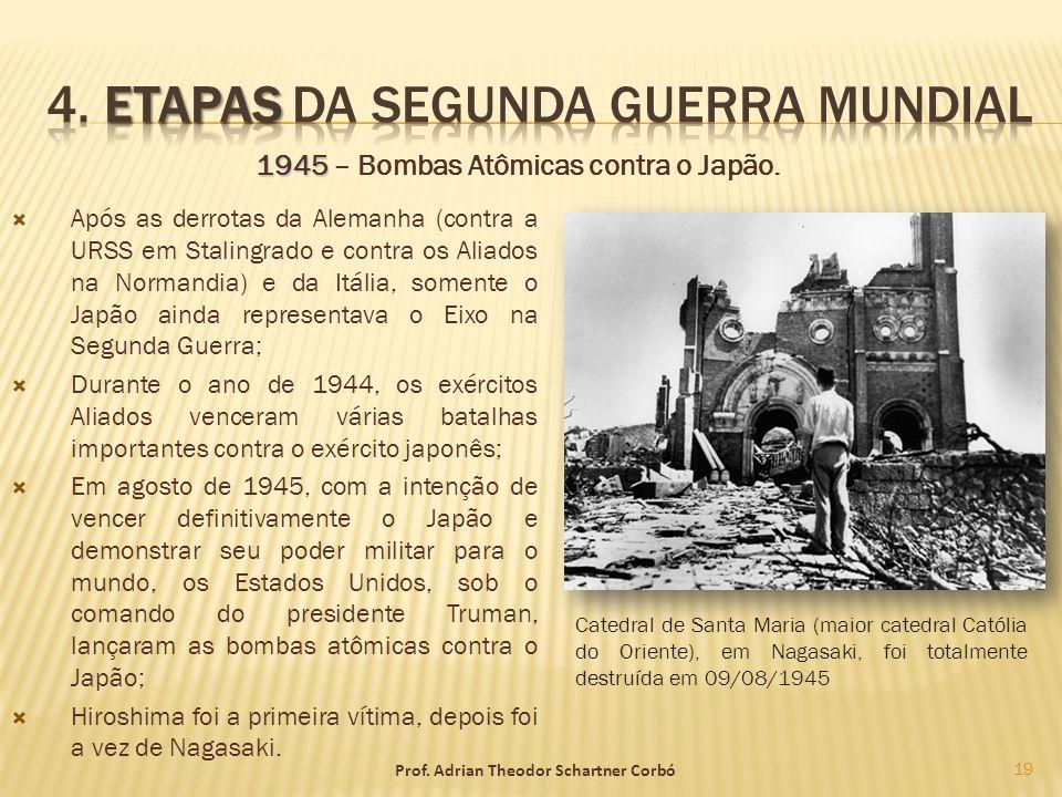 1945 1945 – Bombas Atômicas contra o Japão. Após as derrotas da Alemanha (contra a URSS em Stalingrado e contra os Aliados na Normandia) e da Itália,