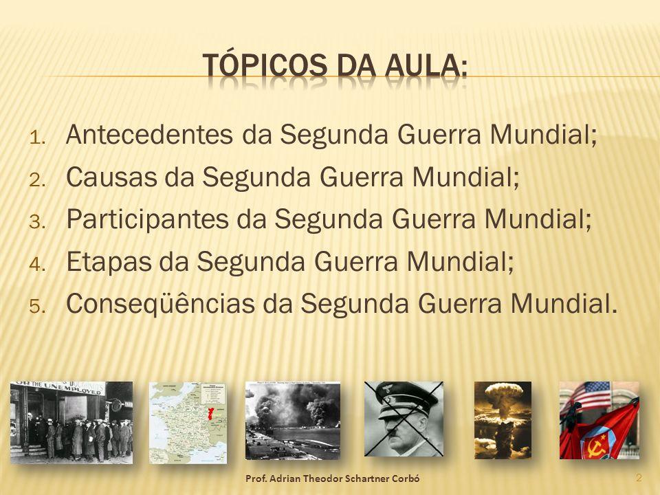 1. Antecedentes da Segunda Guerra Mundial; 2. Causas da Segunda Guerra Mundial; 3. Participantes da Segunda Guerra Mundial; 4. Etapas da Segunda Guerr