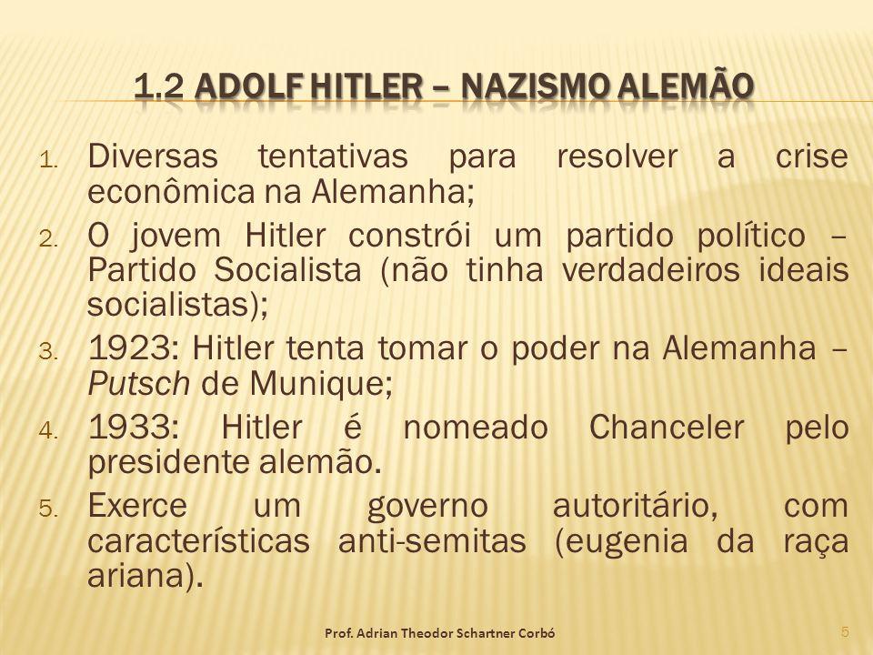 1. Diversas tentativas para resolver a crise econômica na Alemanha; 2. O jovem Hitler constrói um partido político – Partido Socialista (não tinha ver