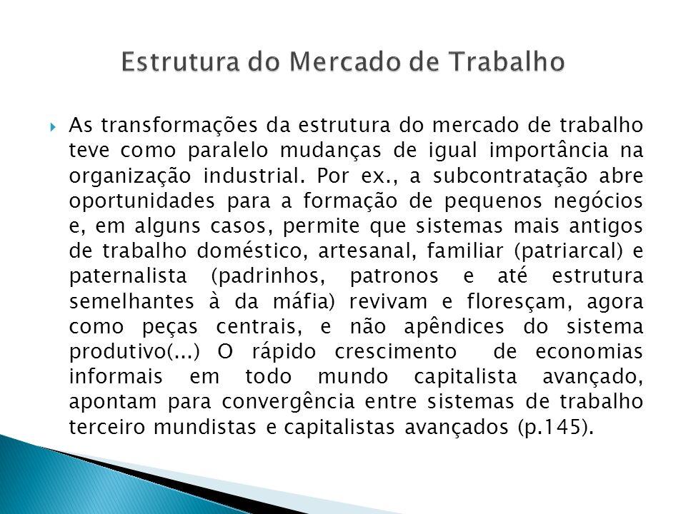 As transformações da estrutura do mercado de trabalho teve como paralelo mudanças de igual importância na organização industrial. Por ex., a subcontra