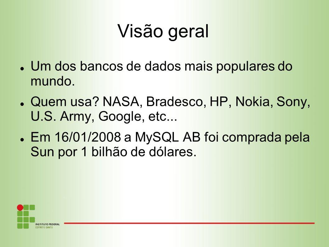 Um dos bancos de dados mais populares do mundo. Quem usa? NASA, Bradesco, HP, Nokia, Sony, U.S. Army, Google, etc... Em 16/01/2008 a MySQL AB foi comp