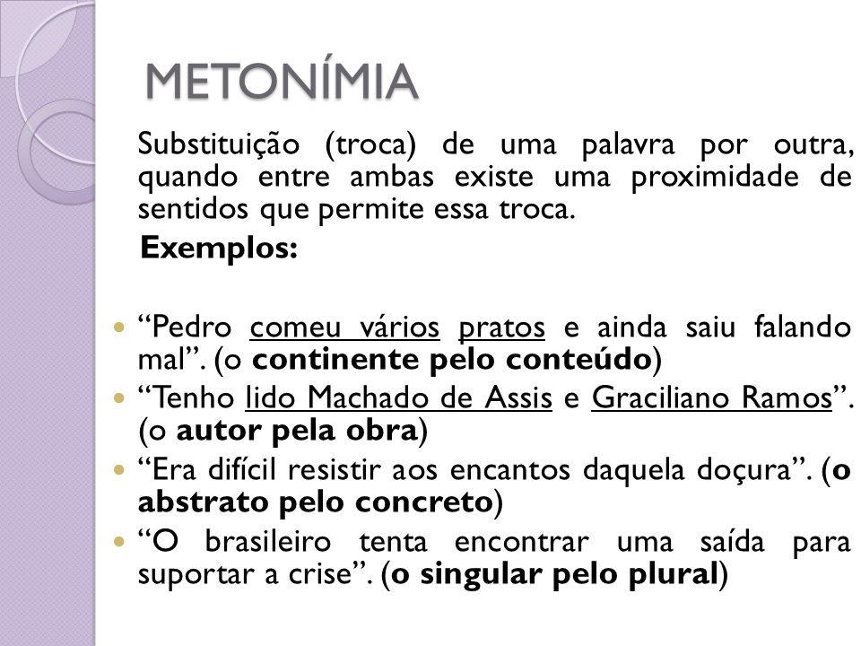 METONÍMIA Substituição (troca) de uma palavra por outra, quando entre ambas existe uma proximidade de sentidos que permite essa troca. Exemplos: Pedro