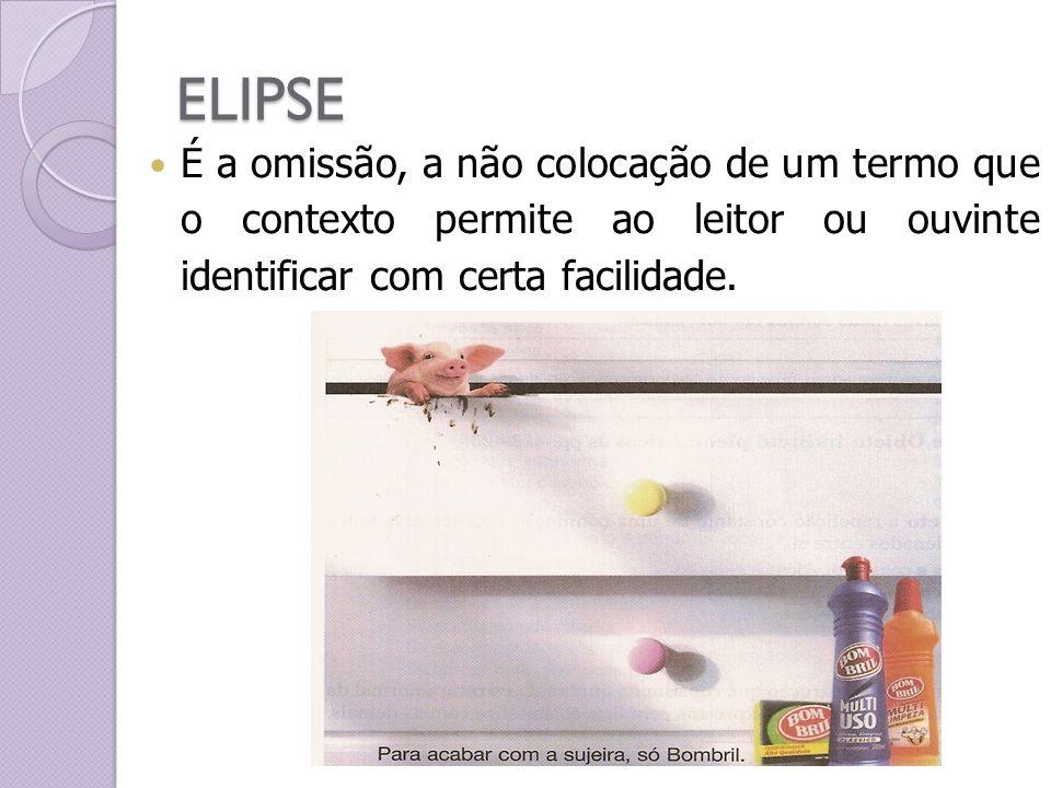 ELIPSE É a omissão, a não colocação de um termo que o contexto permite ao leitor ou ouvinte identificar com certa facilidade.