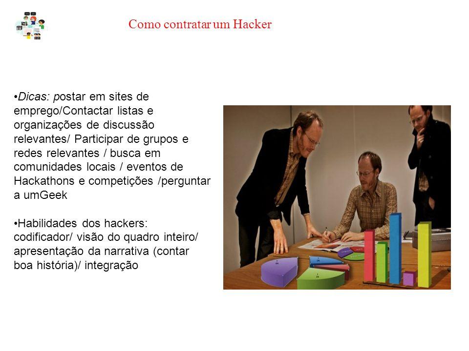 Como contratar um Hacker Dicas: postar em sites de emprego/Contactar listas e organizações de discussão relevantes/ Participar de grupos e redes relevantes / busca em comunidades locais / eventos de Hackathons e competições /perguntar a umGeek Habilidades dos hackers: codificador/ visão do quadro inteiro/ apresentação da narrativa (contar boa história)/ integração