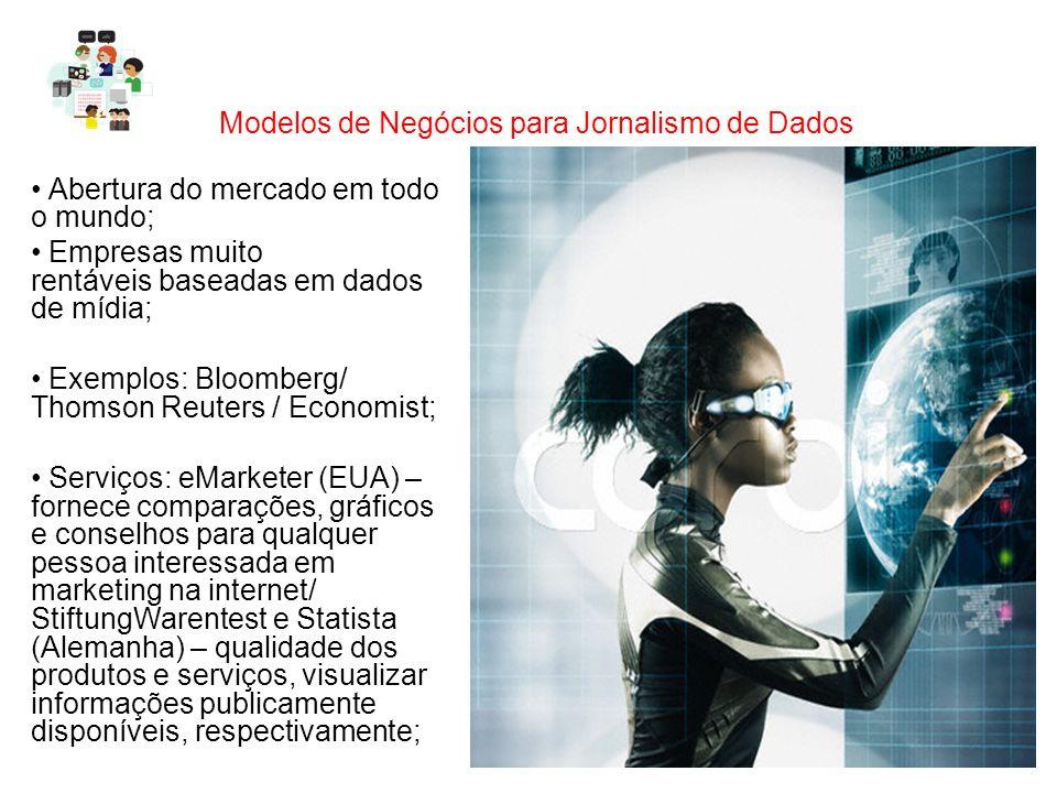 Modelos de Negócios para Jornalismo de Dados Abertura do mercado em todo o mundo; Empresas muito rentáveis baseadas em dados de mídia; Exemplos: Bloom