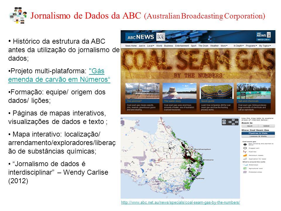 Jornalismo de Dados da BBC http://www.bbc.co.uk/news/education-11950098http://www.bbc.co.uk/news/education-11950098 http://www.bbc.co.uk/news/uk-15975720http://www.bbc.co.uk/news/uk-15975720 Jornalismo de dados BBC – permitir ao leitor informações relevantes/ revelar histórias (notáveis ou não)/ajudar compreensão de assuntos complexos; fornecer serviços; School League Tables (exemplo 1): encontrar escolas locais (inserindo um código postal) e compará-los em uma série de indicadores.