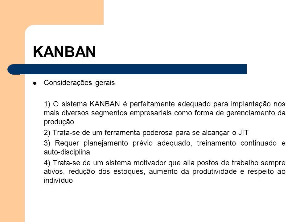 Considerações gerais 1) O sistema KANBAN é perfeitamente adequado para implantação nos mais diversos segmentos empresariais como forma de gerenciament