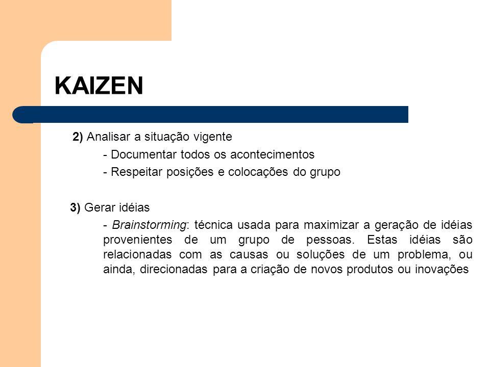 4) Planejar -Cronologia -Responsabilidades -Análise da viabilidade econômica 5) Implementar -Treinamento -Conscientização -Adesão de novos membros no grupo -Formação de novos grupos KAIZEN