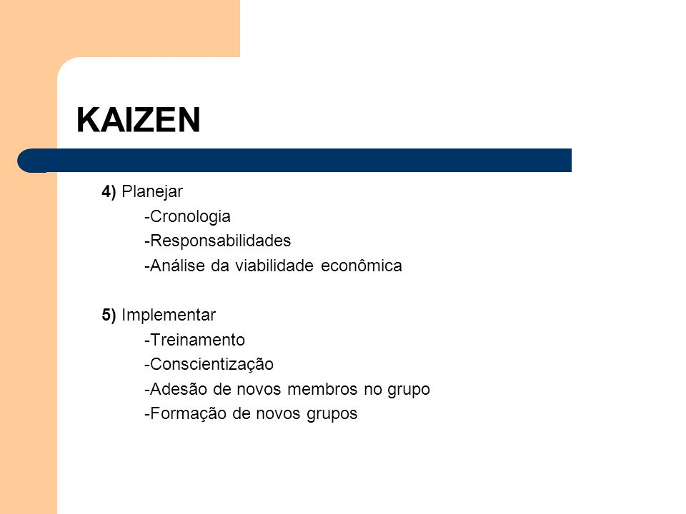 4) Planejar -Cronologia -Responsabilidades -Análise da viabilidade econômica 5) Implementar -Treinamento -Conscientização -Adesão de novos membros no