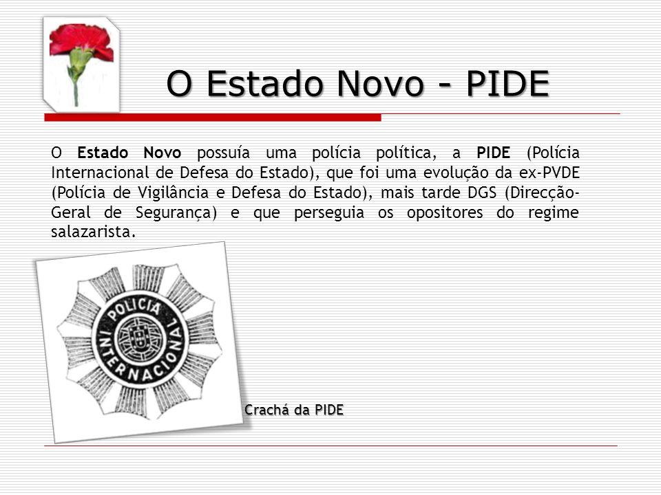O Estado Novo possuía uma polícia política, a PIDE (Polícia Internacional de Defesa do Estado), que foi uma evolução da ex-PVDE (Polícia de Vigilância