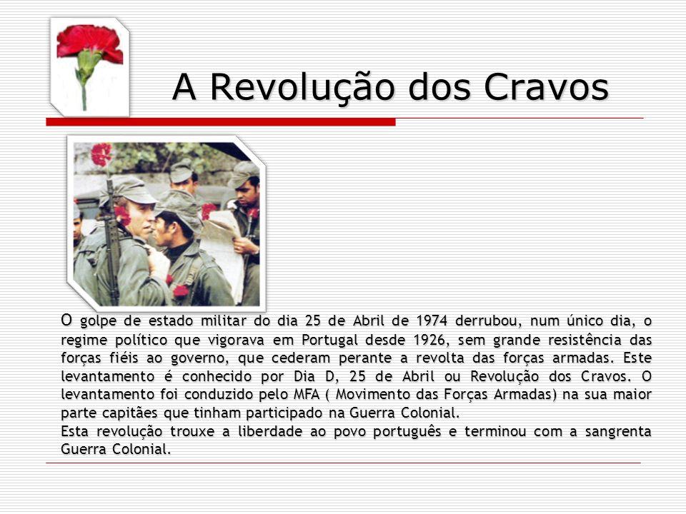 O golpe de estado militar do dia 25 de Abril de 1974 derrubou, num único dia, o regime político que vigorava em Portugal desde 1926, sem grande resist